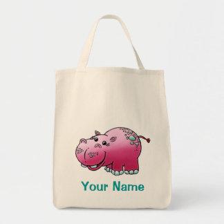 Tote Bag, Cute Rhinoceros Cartoon, Use Your Name!