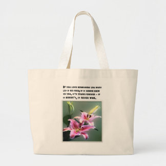 Tote bag - quotation about love with pink flowers.