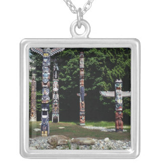 Totem poles, Vancouver, British Colombia Silver Plated Necklace