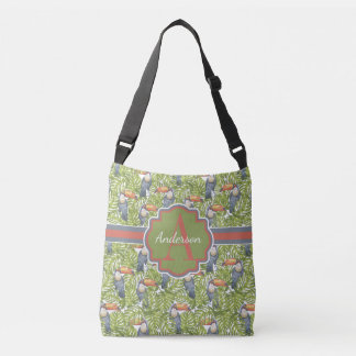 Toucan Parrot Jungle Print Monogram Crossbody Bag