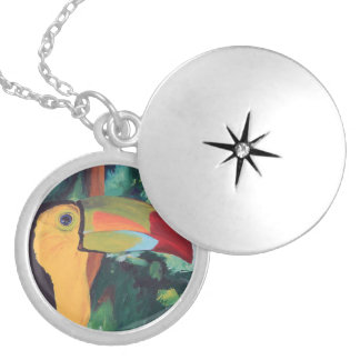 Toucan Round Locket Necklace