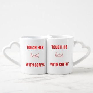 touch her heart, touch his heart with coffee, set coffee mug set