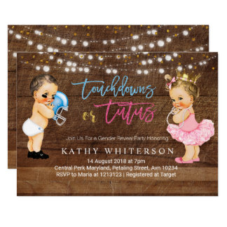 Touchdowns or Tutus gender reveal Invite rustic