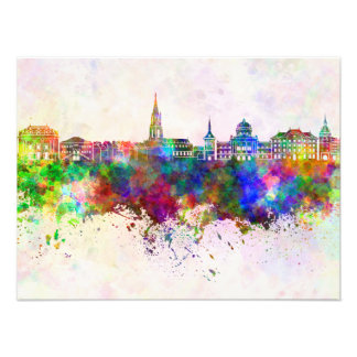 Toulouse skyline in watercolor background photo print