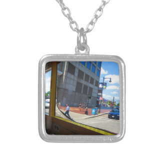 Tour Bus Window views of Boston City America USA Silver Plated Necklace