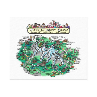 """Tour du Mont Blanc cartoon map - canvas 20"""" x 16"""" Canvas Prints"""