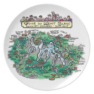 Tour du Mont Blanc cartoon map - melamine plate
