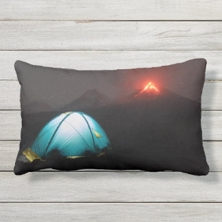 Tourist tent at night on background of volcanoes outdoor cushion