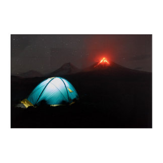 Touristic tent at night on background of volcano acrylic print