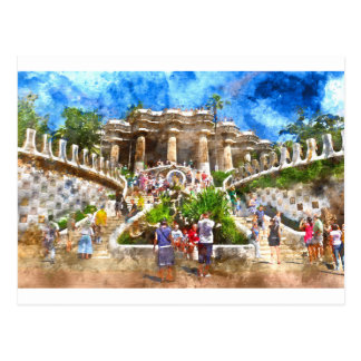 Tourists at Parc Guell in Barcelona Spain Postcard