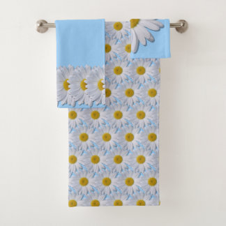 Towel Set - New White Petal Daisy On Blue