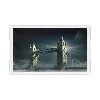 Tower Bridge London in Night Fog Acrylic Tray