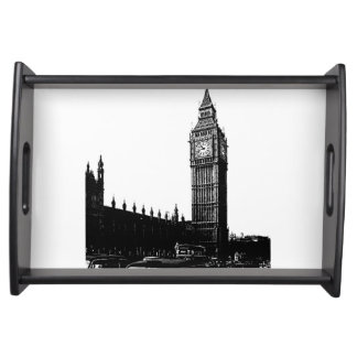 Tower of London Big Ben Black and White Photograph Serving Tray