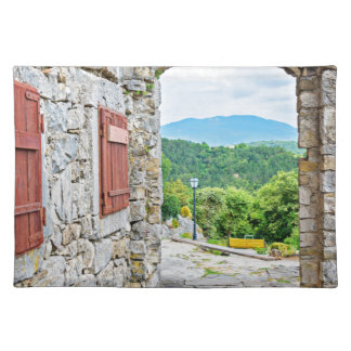 Town of Hum stone gate and street view Placemat