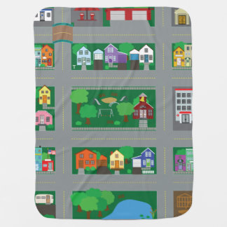 Toy Car Town Road Map Baby Blanket