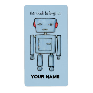 Toy Robot blue Bookplate Label Shipping Label