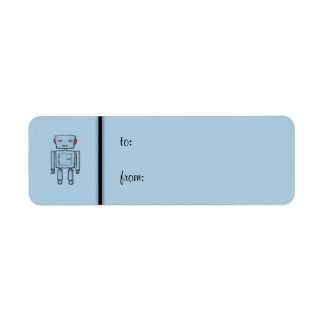 Toy Robot blue small Gift Tag Label