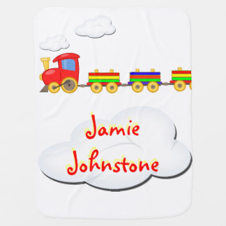 toy train customizable baby blanket white