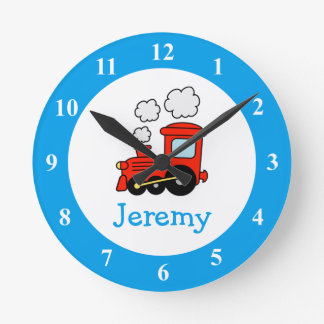 Toy train wall clock for kids bedroom or nursery
