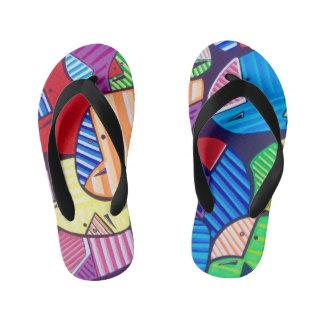 """TQuinn original art """"Happy Feet"""" Kid's Jandals"""