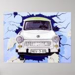 Trabant Car , Pale Blue, Berlin Wall Print