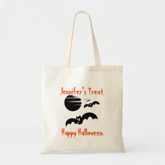 Track or Treat Bat's Personalized Halloween Budget Tote Bag