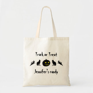 Track or Treat Skull Spider Personalized Halloween Budget Tote Bag