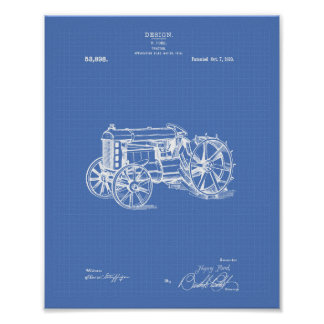 Tractor 1919 Patent Art Blueprint Poster