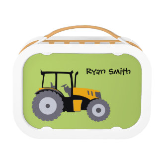 Tractor green school student lunch box customized