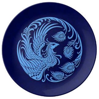Traditional Blue Phoenix Circle Porcelain Plate
