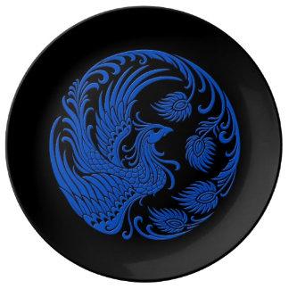 Traditional Blue Phoenix Circle on Black Porcelain Plate