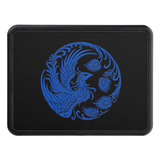 Traditional Blue Phoenix Circle on Black Tow Hitch Covers