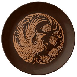 Traditional Brown Phoenix Circle Porcelain Plates