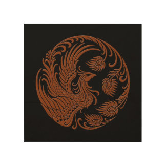 Traditional Brown Phoenix Circle on Black Wood Print