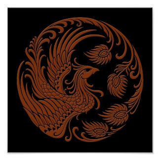 Traditional Brown Phoenix Circle Poster