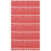 Traditional Chale Red and White Reindeer Snowflake Tablecloth