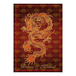 Traditional Chinese Red Dragon 5x7 Paper Invitation Card