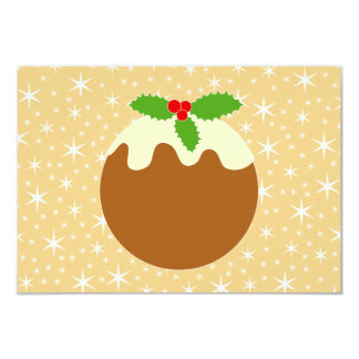 "Traditional Christmas Pudding. 3.5"" X 5"" Invitation Card"