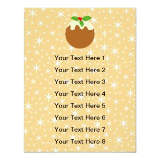 "Traditional Christmas Pudding. 4.25"" X 5.5"" Invitation Card"