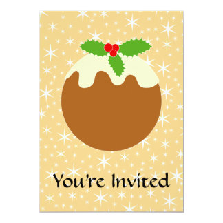 "Traditional Christmas Pudding. 5"" X 7"" Invitation Card"