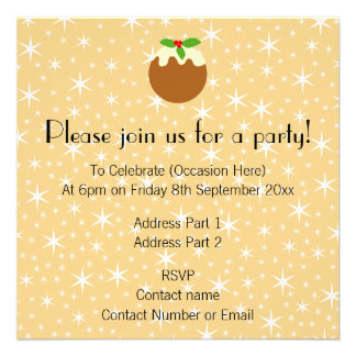 Traditional Christmas Pudding. Personalized Invitation
