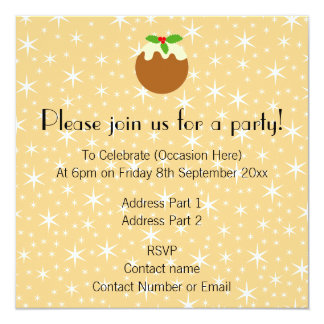 Traditional Christmas Pudding. 5.25x5.25 Square Paper Invitation Card