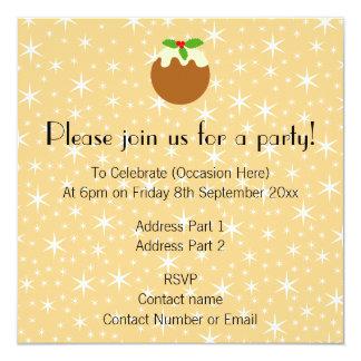"Traditional Christmas Pudding. 5.25"" Square Invitation Card"