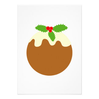 Traditional Christmas Pudding On White Personalized Invitations