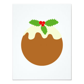 Traditional Christmas Pudding. On White. 11 Cm X 14 Cm Invitation Card