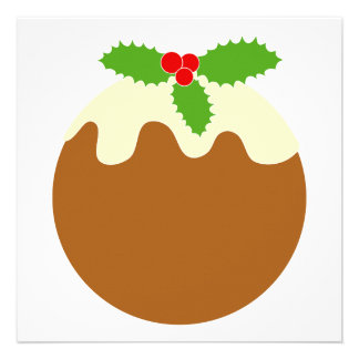 Traditional Christmas Pudding. On White. Announcement