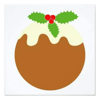 "Traditional Christmas Pudding. On White. 5.25"" Square Invitation Card"