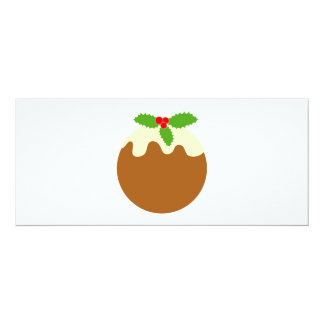 Traditional Christmas Pudding. On White. 4x9.25 Paper Invitation Card