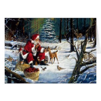 Traditional Christmas Santa in the Park Card