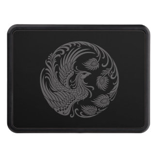 Traditional Gray Phoenix Circle on Black Tow Hitch Cover